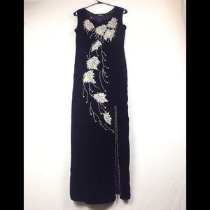 Prom, wedding velvet purple maxi beaded  dress 2